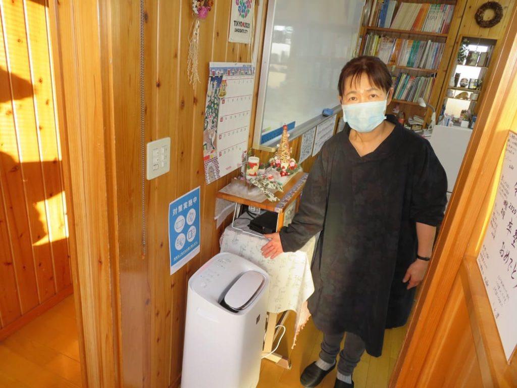 横山学習塾では空気清浄機を設置しています