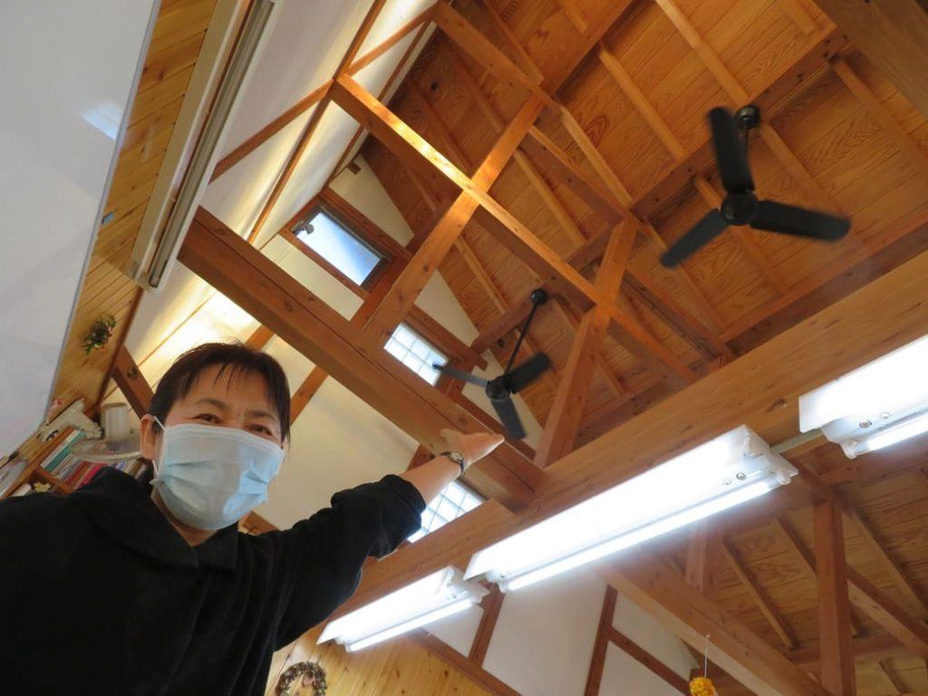 横山学習塾ではシーリングファンによる換気を行っています