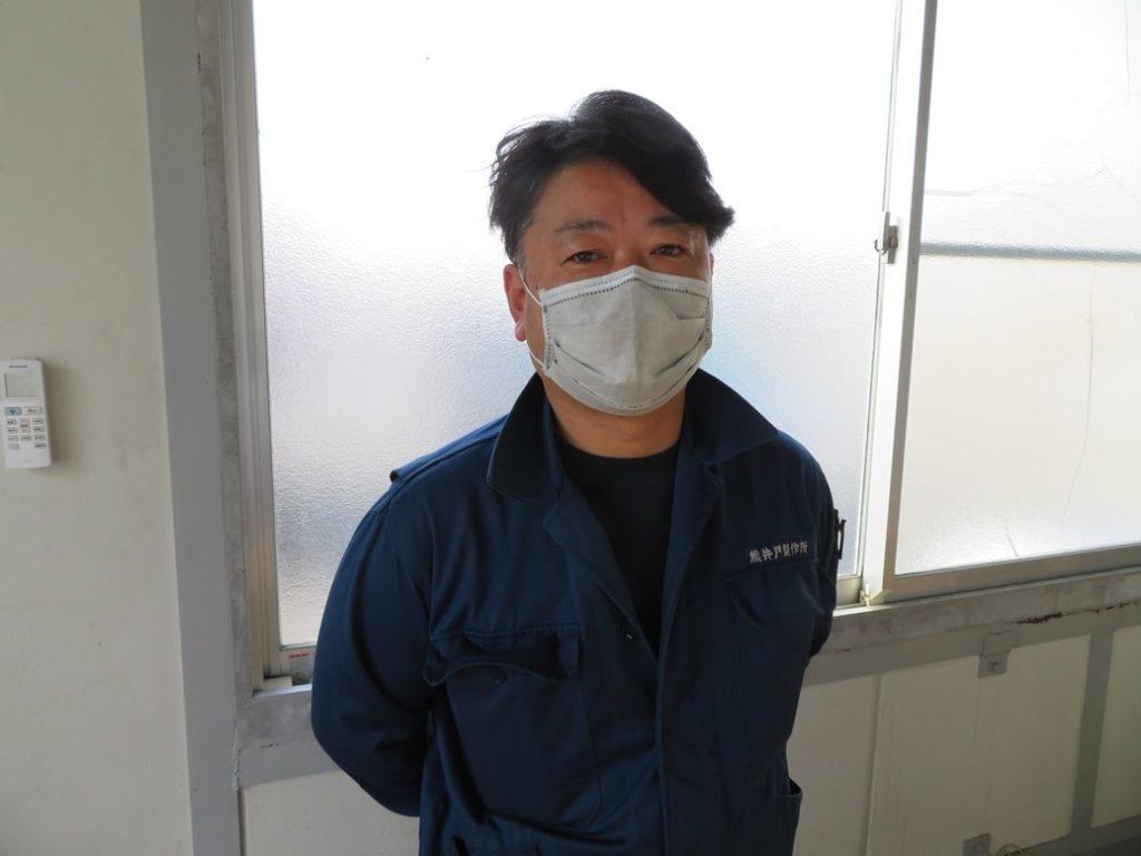 熊井戸製作所では従業員のマスク着用を徹底しています